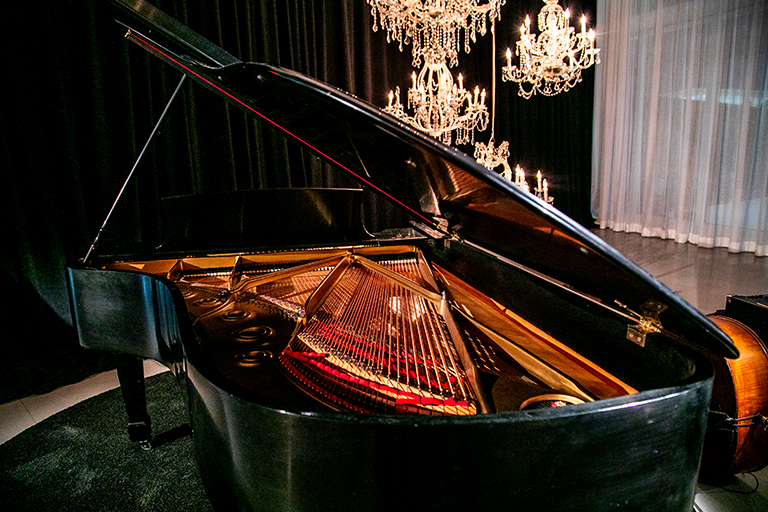 Piano with chandeliers